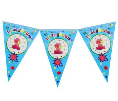 Diğer - 1 Yaş Günüm Doğum Günü Partisi Üçgen Flama Bayrak Mavi