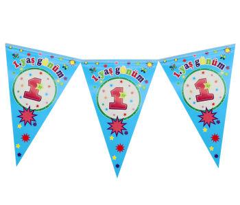 1 Yaş Günüm Doğum Günü Partisi Üçgen Flama Bayrak Mavi
