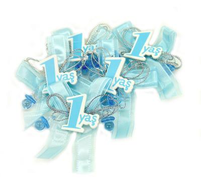 Diğer - 1 Yaş Logolu Yapışkanlı Süsleme Malzemesi 12 Adet Mavi