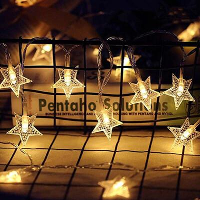 Diğer - 10 Ledli Buzlu Yıldız Dizeleri Dekor Işığı