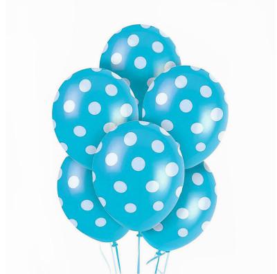 Diğer - 100lü Beyaz Puantiyeli Mavi Parti Balonları