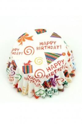 Diğer - 100lü Happy Birthday Yağlı Kağıttan Muffin Kalıbı Büyük Boy