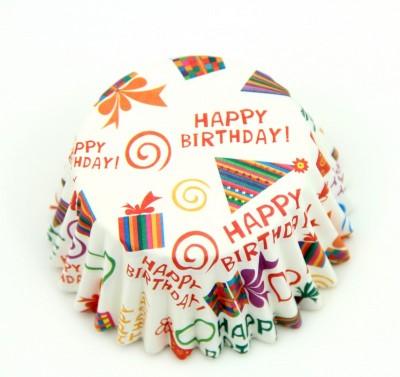Diğer - 100lü Happy Birthday Yağlı Kağıttan Muffin Kalıbı Küçük Boy