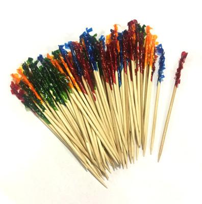 Diğer - 100lü Karışık Renk Süslemeli Bambu Sunum ve İkram Kürdanı