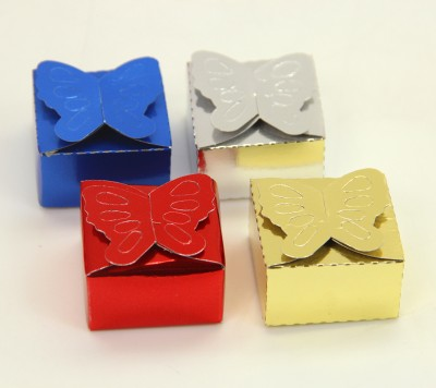 Diğer - 100lü Parlak Renk Kelebek Model Hazır Kına Kutusu Asorti