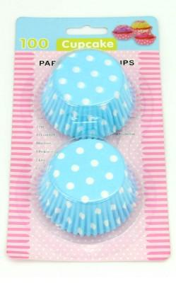 100lü Puantiyeli Kağıt Cupcake Kek Kalıbı Mavi - Thumbnail