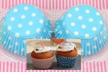100lü Puantiyeli Kağıt Cupcake Kek Kalıbı Mavi