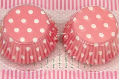 Diğer - 100lü Puantiyeli Kağıt Cupcake Kek Kalıbı Pembe