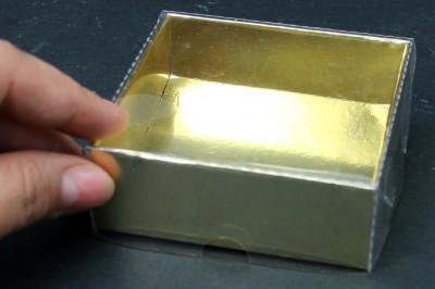 Diğer - 10lu Asetat Kapaklı Altı Karton Hediye Kutusu 8x8x3cm Gold