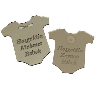 Diğer - 10lu Aynalı Zıbın Şeklinde İsme Özel Bebek Şekeri Süsü Gümüş