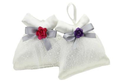 Diğer - 10lu Çiçekli Fiyonk ve Tül Süslemeli Elbiseli Lavanta Kesesi Beyaz