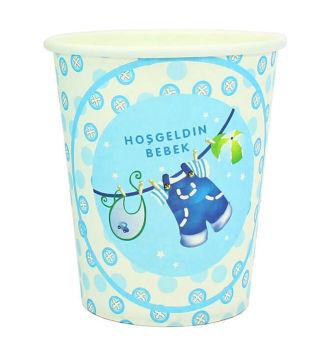 10lu Hoşgeldin Bebek Baby Shower Partisi Karton Bardağı Mavi