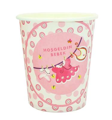 Diğer - 10lu Hoşgeldin Bebek Baby Shower Partisi Karton Bardağı Pembe