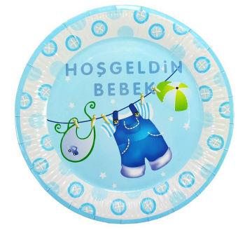 10lu Hoşgeldin Bebek Baby Shower Partisi Karton Tabağı Mavi