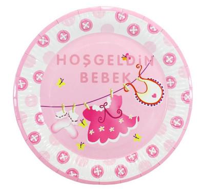 Diğer - 10lu Hoşgeldin Bebek Baby Shower Partisi Karton Tabağı Pembe