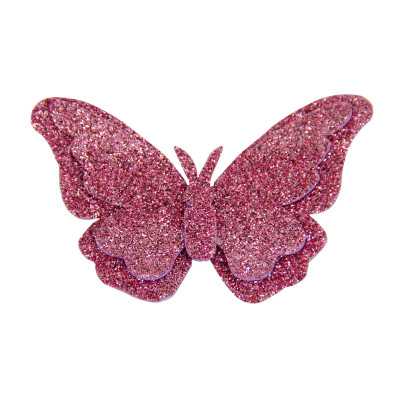 Diğer - 10lu Kelebek Logolu Simli Eva Süsleme Malzemesi 7cm Pembe