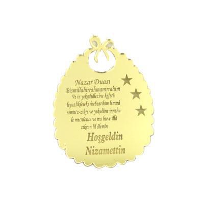 Diğer - 10lu Kişiye Özel Nazar Dualı Aynalı Pleksi Önlük 5cm Gold