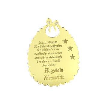 10lu Kişiye Özel Nazar Dualı Aynalı Pleksi Önlük 5cm Gold
