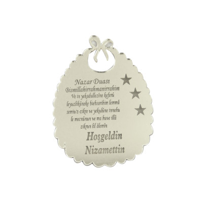 Diğer - 10lu Kişiye Özel Nazar Dualı Aynalı Pleksi Önlük 5cm Gümüş