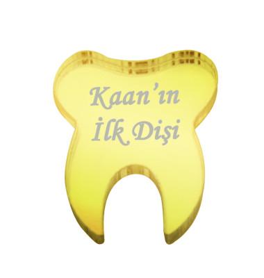 Diğer - 10lu Kişiye Özel Yazılı Aynalı Diş Figürü Gold 5cm