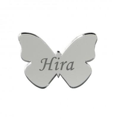 Diğer - 10lu Kişiye Özel Yazılı Aynalı Kelebek 3x4cm Gümüş