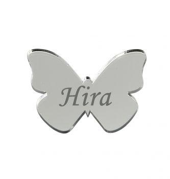 10lu Kişiye Özel Yazılı Aynalı Kelebek 3x4cm Gümüş
