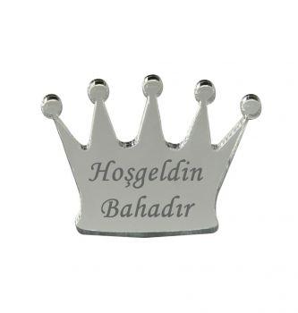 10lu Kişiye Özel Yazılı Aynalı Kral Tacı 5x3,5cm Gümüş