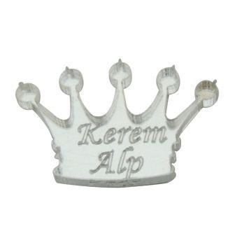 10lu Kişiye Özel Yazılı Aynalı Kral Tacı Figürü Gümüş 3cm