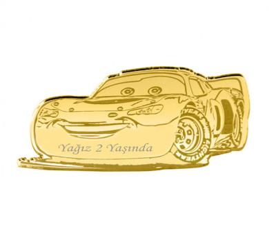 Diğer - 10lu Kişiye Özel Yazılı Aynalı Pleksi Araba Süsü 7,5cm Gold