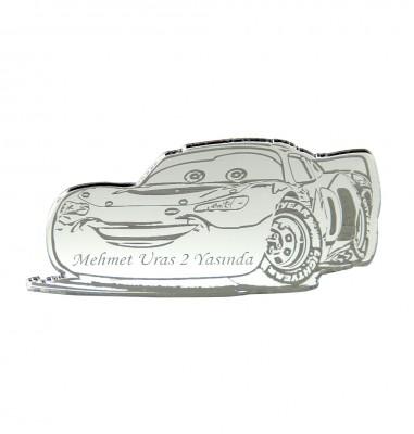 Diğer - 10lu Kişiye Özel Yazılı Aynalı Pleksi Araba Süsü 7,5cm Gümüş