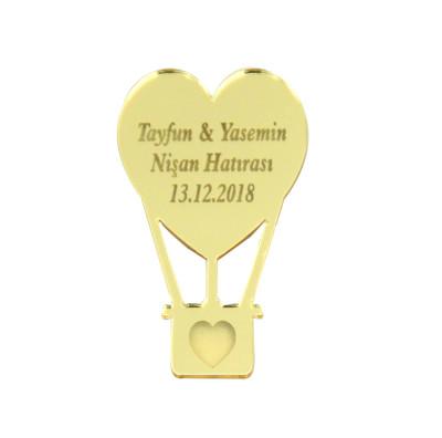 Diğer - 10lu Kişiye Özel Yazılı Aynalı Pleksi Uçan Balon 5cm Gold