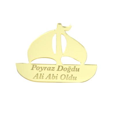 Diğer - 10lu Kişiye Özel Yazılı Aynalı Pleksi Yelkenli Gemi 5cm Gold
