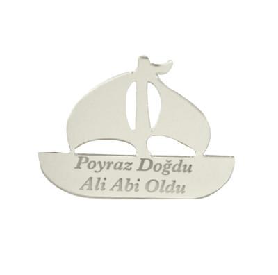 Diğer - 10lu Kişiye Özel Yazılı Aynalı Pleksi Yelkenli Gemi 5cm Gümüş