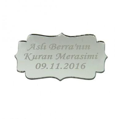 Diğer - 10lu Kişiye Özel Yazılı Aynalı Sticker İsimlik 5x3cm Gümüş