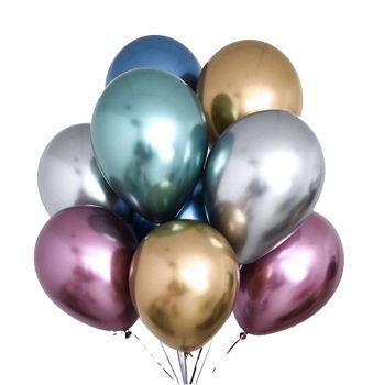 10lu Krom Balon Parlak Süsleme Balonları Karışık Renk