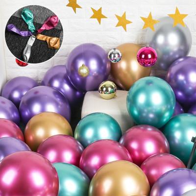 Diğer - 10lu Krom Balon Parlak Süsleme Balonları Karışık Renk