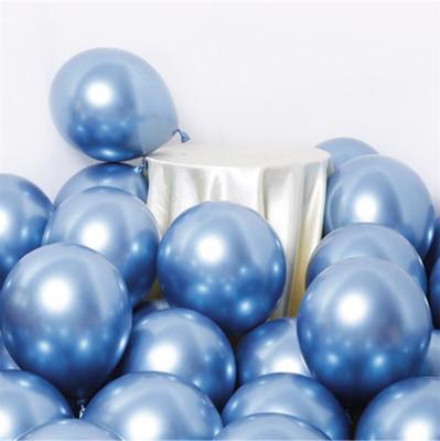 Diğer - 10lu Krom Balon Parlak Süsleme Balonları Mavi