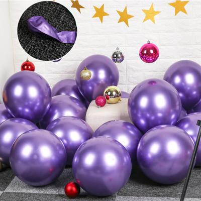 Diğer - 10lu Krom Balon Parlak Süsleme Balonları Mor