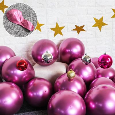 Diğer - 10lu Krom Balon Parlak Süsleme Balonları Pembe