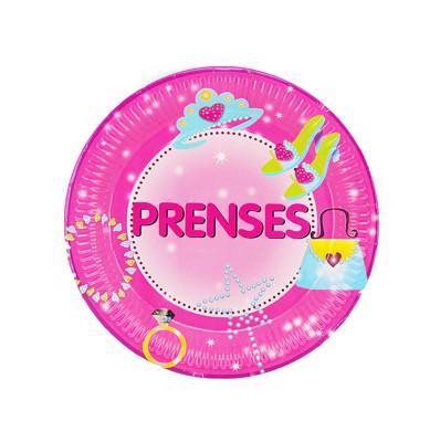 Diğer - 10lu Prenses Yazılı Kız Çoçuklar İçin Karton Tabak