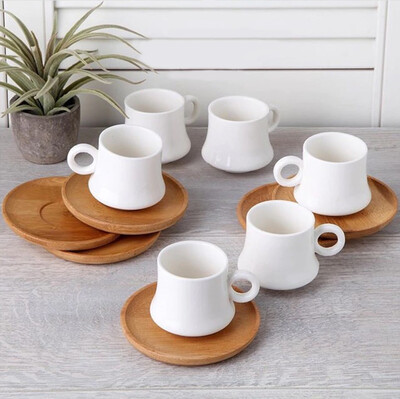 Diğer - 12 Parça Porselen Bambu Kahve Fincan Takımı