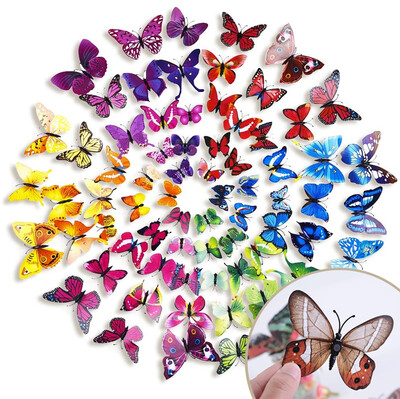 Diğer - 12li Doğal Görünümlü Mıknatıs ve Yapışkanlı Kelebek Süsü Asorti