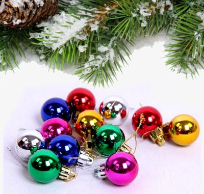 Diğer - 12li Karışık Renk Parlak Cici Top Yeni Yıl Ağaç Süsü 4cm
