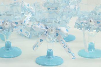 12li Kurdele ve Tül Süslemeli Lohusa Şerbet Bardağı Mavi