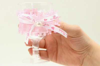 12li Kurdele ve Tül Süslemeli Lohusa Şerbet Bardağı Pembe - Thumbnail