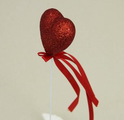 Diğer - 12li Süsleme Malzemesi Strafor Çubuklu Kalp Kırmızı