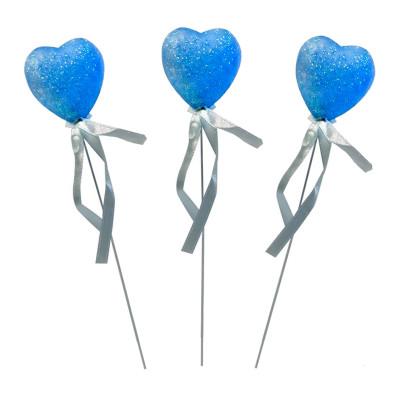 Diğer - 12li Süsleme Malzemesi Strafor Çubuklu Kalp Mavi