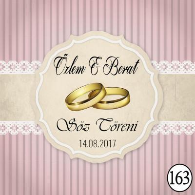 Diğer - 14lü Söz, Nişan ve Nikah İçin Kişiye Özel Madlen Çikolata Etiketi 10,5x4,1cm