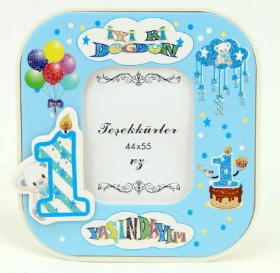 Diğer - 15li 1 Yaş Günü Temalı Hediyelik Masa Tipi Fotoğraf Çerçevesi Mavi