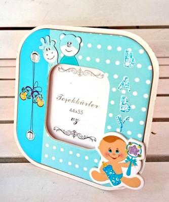 Diğer - 15li Baby Shower İçin Hediyelik Masa Tipi Fotoğraf Çerçevesi Mavi